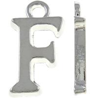 Zinklegierung Buchstaben Anhänger, Buchstabe F, silberfarben plattiert, frei von Nickel, Blei & Kadmium, 8x15x2mm, Bohrung:ca. 2mm, 10PCs/Tasche, verkauft von Tasche