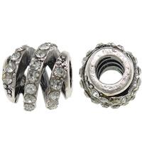Strass Zinklegierung Perlen, Trommel, antik silberfarben plattiert, mit Strass & großes Loch, frei von Nickel, Blei & Kadmium, 11x12mm, Bohrung:ca. 4.5mm, 10PCs/Tasche, verkauft von Tasche