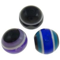 Harz Evil Eye Perlen, rund, Streifen, gemischte Farben, 12mm, Bohrung:ca. 2mm, 1000PCs/Tasche, verkauft von Tasche