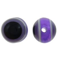 Harz Evil Eye Perlen, rund, Streifen, violett, 8mm, Bohrung:ca. 2mm, 1000PCs/Tasche, verkauft von Tasche