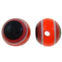 Harz Evil Eye Perlen, rund, Streifen, rot, 8mm, Bohrung:ca. 2mm, 1000PCs/Tasche, verkauft von Tasche