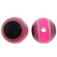 Harz Evil Eye Perlen, rund, Streifen, Rosa, 8mm, Bohrung:ca. 2mm, 1000PCs/Tasche, verkauft von Tasche