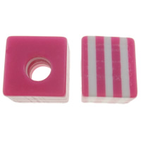 Gestreifte Harz Perlen, Würfel, Streifen, Rosa, 10mm, Bohrung:ca. 4mm, 1000PCs/Tasche, verkauft von Tasche