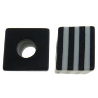 Gestreifte Harz Perlen, Würfel, Streifen, schwarz, 10mm, Bohrung:ca. 4mm, 1000PCs/Tasche, verkauft von Tasche