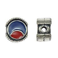 Bali Sterling Silber Perlen, Thailand, flache Runde, Emaille, 10x10x6mm, Bohrung:ca. 2mm, 5PCs/Menge, verkauft von Menge