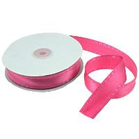 Polyester und Baumwolle Farbband, mit Kunststoffspule & Karton, mit einem Muster von Herzen & einzelseitig, rosarot, 26mm, Länge:250 HofHof, 5PCs/Menge, 50WerftenHof/PC, verkauft von Menge