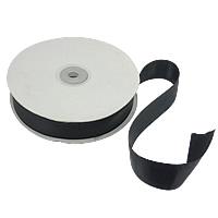 Polyester und Baumwolle Farbband, mit Kunststoffspule & Karton, mit einem Muster von Herzen & einzelseitig, schwarz, 25mm, Länge:250 HofHof, 5PCs/Menge, 50WerftenHof/PC, verkauft von Menge
