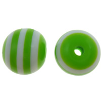 Gestreifte Harz Perlen, rund, Streifen, apfelgrün, 8mm, Bohrung:ca. 2mm, 1000PCs/Tasche, verkauft von Tasche