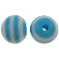 Gestreifte Harz Perlen, rund, Streifen, blau, 8mm, Bohrung:ca. 2mm, 1000PCs/Tasche, verkauft von Tasche