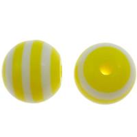 Gestreifte Harz Perlen, rund, Streifen, gelb, 8mm, Bohrung:ca. 2mm, 1000PCs/Tasche, verkauft von Tasche