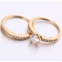 Gets® Finger Ring, Messing, 18 K vergoldet, für paar & mit kubischem Zirkonia, frei von Nickel, Blei & Kadmium, 7mm, Größe:8, verkauft von Paar