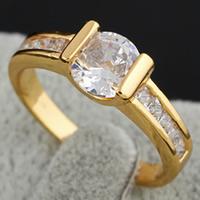 Gets® Finger Ring, Messing, 18 K vergoldet, mit kubischem Zirkonia, frei von Nickel, Blei & Kadmium, 8.5x7mm, Größe:7, verkauft von PC