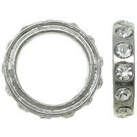 Zinklegierung Verbindungsring, Kreisring, Platinfarbe platiniert, mit Strass, frei von Nickel, Blei & Kadmium, 18x4mm, Bohrung:ca. 13mm, 10PCs/Tasche, verkauft von Tasche