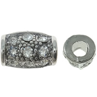 Strass Zinklegierung Perlen, Rohr, antik silberfarben plattiert, mit Strass, frei von Nickel, Blei & Kadmium, 7x11x7mm, Bohrung:ca. 3mm, 10PCs/Tasche, verkauft von Tasche