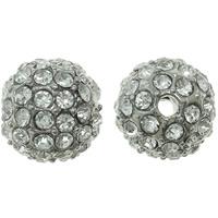 Strass Zinklegierung Perlen, rund, Platinfarbe platiniert, mit Strass, frei von Nickel, Blei & Kadmium, 10mm, Bohrung:ca. 2mm, 10PCs/Tasche, verkauft von Tasche