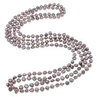 Natürliche Süßwasserperlen Halskette, Natürliche kultivierte Süßwasserperlen, 2 strängig, violett, 4-7mm, verkauft per ca. 62.5 ZollInch Strang