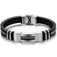 Herren-Armband & Bangle, Edelstahl, mit Silikon, schwarz, 9mm, verkauft per 8.5 ZollInch Strang