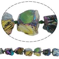 Natürliche Beschichtung Quarz Perlen, Natürlicher Quarz, Klumpen, 18-28mm, Bohrung:ca. 2.5mm, Länge:ca. 15.7 ZollInch, 5SträngeStrang/Menge, ca. 15PCs/Strang, verkauft von Menge