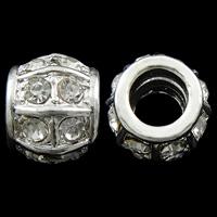 Zink Legierung Europa Perlen, Zinklegierung, Trommel, silberfarben plattiert, mit troll & mit Strass, frei von Nickel, Blei & Kadmium, 11x13mm, Bohrung:ca. 7mm, 10PCs/Tasche, verkauft von Tasche