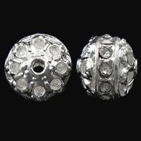 Strass Zinklegierung Perlen, silberfarben plattiert, mit Strass & hohl, frei von Nickel, Blei & Kadmium, 9x10mm, Bohrung:ca. 1.5mm, 10PCs/Tasche, verkauft von Tasche