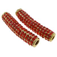 Strass Schmuckperlen, Zinklegierung, Rohr, goldfarben plattiert, mit Strass, rot, frei von Nickel, Blei & Kadmium, 38x11x9mm, Bohrung:ca. 4mm, 10PCs/Tasche, verkauft von Tasche