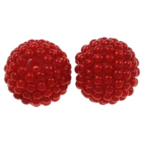 Kunststoffperlen, Harz, mit Kunststoff, rund, rot, 20mm, Bohrung:ca. 2.5mm, 50PCs/Tasche, verkauft von Tasche