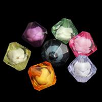 Perlen in Perlen Acrylperlen, Acryl, Doppelkegel, gemischte Farben, 13x14mm, Bohrung:ca. 2mm, ca. 450PCs/Tasche, verkauft von Tasche