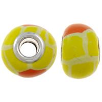 European Polymer Ton Schmuckperlen , Rondell, Platinfarbe platiniert, Messing-Dual-Core ohne troll, gelb, frei von Nickel, Blei & Kadmium, 15x11mm, Bohrung:ca. 5mm, 10PCs/Tasche, verkauft von Tasche