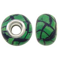 European Polymer Ton Schmuckperlen , Rondell, Platinfarbe platiniert, Messing-Dual-Core ohne troll & Streifen, grün, frei von Nickel, Blei & Kadmium, 15x11mm, Bohrung:ca. 5mm, 10PCs/Tasche, verkauft von Tasche