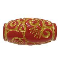 Zinnoberrot Perlen, Cinnabaris, oval, natürlich, Golddruck, rot, 28x15x15mm, Bohrung:ca. 3mm, 5PCs/Menge, verkauft von Menge