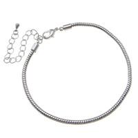 Messing Armband-Cord, mit Verlängerungskettchen von 8cm, Platinfarbe platiniert, Schlangekette, frei von Nickel, Blei & Kadmium, 3mm, Länge:ca. 8 ZollInch, 10SträngeStrang/Tasche, verkauft von Tasche