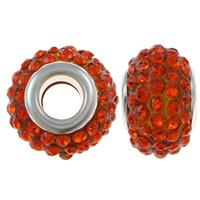 European Harz Perlen, Rondell, Platinfarbe platiniert, Messing-Dual-Core ohne troll & mit Strass, rote Orange, 15x10mm, Bohrung:ca. 5mm, 10PCs/Tasche, verkauft von Tasche