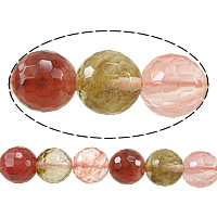 Wassermelone Glasperlen, rund, facettierte, gemischte Farben, 10mm, Bohrung:ca. 1mm, Länge:ca. 15 ZollInch, 10SträngeStrang/Menge, ca. 37PCs/Strang, verkauft von Menge