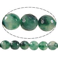 Natürliche Moos Achat Perlen, rund, facettierte, 8mm, Bohrung:ca. 1mm, Länge:ca. 15 ZollInch, 10SträngeStrang/Menge, ca. 50PCs/Strang, verkauft von Menge