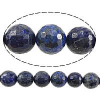 natürlicher Lapislazuli Perle, rund, facettierte, 10mm, Bohrung:ca. 1mm, Länge:ca. 15 ZollInch, 5SträngeStrang/Menge, ca. 37PCs/Strang, verkauft von Menge