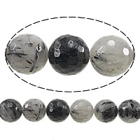 Rutilated Quarz Perle, rund, facettierte, 6mm, Bohrung:ca. 1mm, Länge:ca. 15 ZollInch, 5SträngeStrang/Menge, ca. 61PCs/Strang, verkauft von Menge