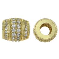 Messing European Perlen, oval, goldfarben plattiert, Micro pave Zirkonia & ohne troll, frei von Nickel, Blei & Kadmium, 12x11x2mm, Bohrung:ca. 5mm, 5PCs/Menge, verkauft von Menge