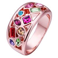 comeon® Finger-Ring, Zinklegierung, echtes Rósegold plattiert, mit kubischem Zirkonia, frei von Nickel, Blei & Kadmium, 11x22mm, Größe:8, verkauft von PC