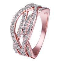 comeon® Finger-Ring, Zinklegierung, echtes Rósegold plattiert, mit Strass, frei von Nickel, Blei & Kadmium, 10x22mm, Größe:8, verkauft von PC