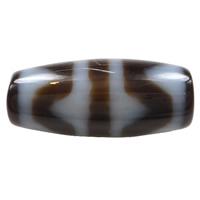 Natürliche Tibetan Achat Dzi Perlen, oval, vier Streifen Tiger Zähne & zweifarbig, 20x9x3mm, Bohrung:ca. 1.5mm, verkauft von PC