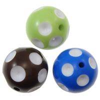 Volltonfarbe Acryl Perlen, rund, verschiedene Größen vorhanden, gemischte Farben, Bohrung:ca. 2mm, 100PCs/Tasche, verkauft von Tasche