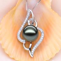 Tahiti Perlen Anhänger, mit 925 Sterling Silber, natürlich, mit kubischem Zirkonia, Malachitgrün, 10-11mm, 31x20mm, Bohrung:ca. 4x10mm, verkauft von PC