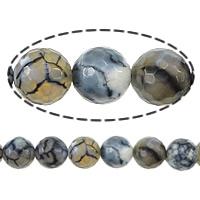 Natürliche Drachen Venen Achat Perlen, Drachenvenen Achat, rund, verschiedene Größen vorhanden & facettierte, Bohrung:ca. 1-1.2mm, verkauft per ca. 15.5 ZollInch Strang