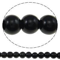 Einbrennlack Glasperlen, Glas, rund, schwarz, 7x8mm, Bohrung:ca. 1mm, Länge:ca. 31.4 ZollInch, 10SträngeStrang/Tasche, verkauft von Tasche