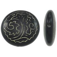 Golddruck Acryl Perlen, flache Runde, Volltonfarbe, schwarz, 24x8mm, Bohrung:ca. 0.8mm, ca. 145PCs/Tasche, verkauft von Tasche