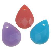 Gelee-Stil-Acryl-Perlen, Acryl, Tropfen, facettierte & Gellee Stil, gemischte Farben, 12x17x5mm, Bohrung:ca. 2mm, ca. 1000PCs/Tasche, verkauft von Tasche