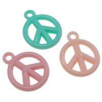 Acryl Anhänger, Frieden Logo, Gellee Stil, gemischte Farben, 15.50x19x3mm, Bohrung:ca. 2mm, ca. 1665PCs/Tasche, verkauft von Tasche