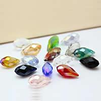 Tropfen Kristallperlen, Kristall, bunte Farbe plattiert, facettierte, gemischte Farben, 6mm, Bohrung:ca. 0.5-1mm, 500PCs/Tasche, verkauft von Tasche
