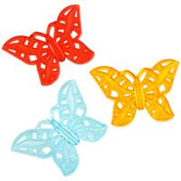 Acryl Anhänger, Schmetterling, transparent & hohl, gemischte Farben, 55x37x5mm, Bohrung:ca. 2mm, ca. 105PCs/Tasche, verkauft von Tasche