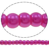 Perlmuttartige Glasperlen, Glas, rund, Nachahmung Perle, keine, 4mm, Bohrung:ca. 1mm, Länge:ca. 40 ZollInch, 10SträngeStrang/Tasche, verkauft von Tasche